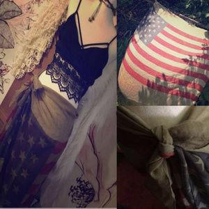 American Flag Bohemian Distressed Shawl/Wrap NWT